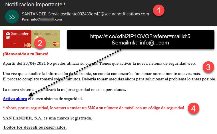 Phishing Santander SMS - Email SCAM - Robo credenciales bancarias