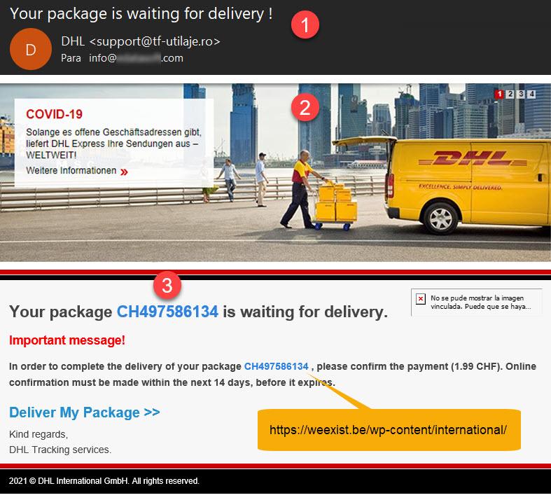 Scam DHL - Tráfico hacia webs trampa
