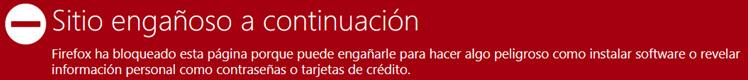 Alerta de sitio web malicioso - Riesgo de infección o desvío del tráfico