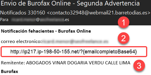 Burofax scam Segunda advertencia - Spam abogados Madrid - Web maliciosa - Detalles