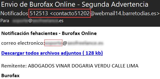 Burofax scam Segunda advertencia - Abogados Vinar DOgaria Verdu Lima Madrid