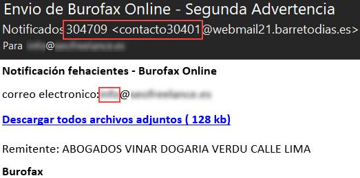 Burofax scam Segunda advertencia - Spam email 3