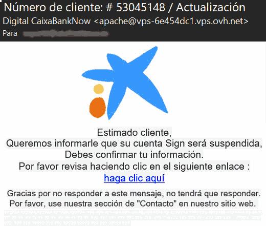Su cuenta Sign será suspendida - Digital CaixaBankNow - Phishing CaixaBank