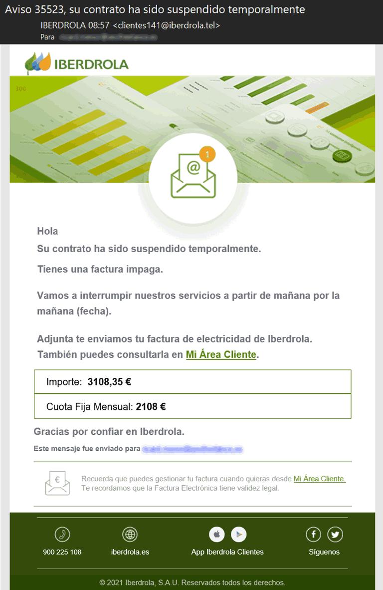 Iberdrola su contrato ha sido suspendido temporalmente - Phishing Iberdrola
