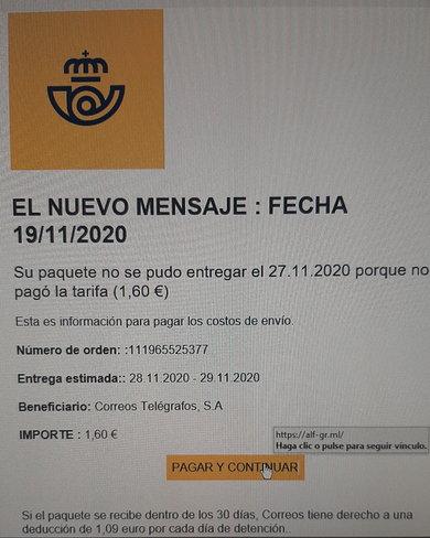 Phishing correos - Su paquete no se pudo entregar