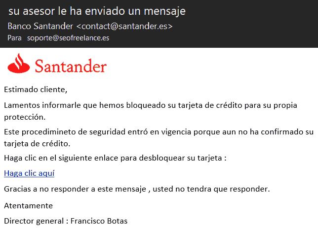 Phishing Santander - Su asesor le ha enviado un mensaje