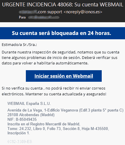 Urgente incidencia webmail Ionos